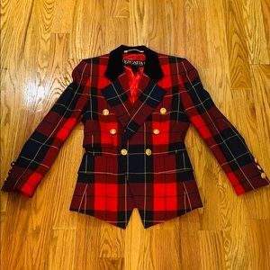Auth Escada Red Plaid Tartan Blazer Sz 34